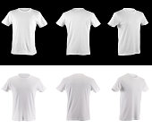 collection of white t-shirts on black and black t-shirts on white all shirts have clipping paths