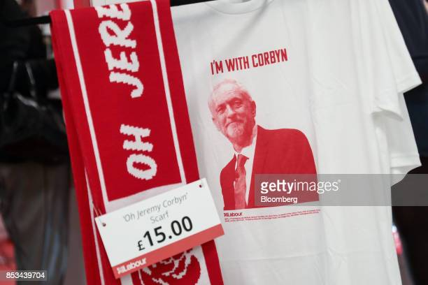 A tshirt depicting Jeremy Corbyn leader of the UK opposition Labour Party sits on display at the party's annual conference in Brighton UK on Sunday...