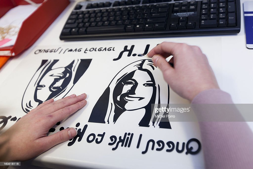 A t-shirt featuring a likeness of Crown Princess Maxima of The Netherlands is prepared for printing on a t-shirt designed by DPS Company on March 11, 2013 in Roosendaal, Netherlands. The shirts are for sale in preparation of the upcoming 30 April coronation of Crown Prince Willem Alexander of The Netherlands.