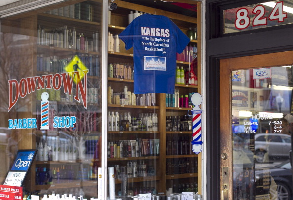 Barber Shop Lawrence Ks : tshirt on the window of the Downtown Barber Shop in Lawrence Kansas ...