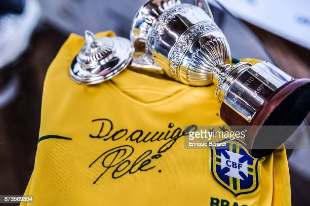Tshirt signed by Pele during the final round of the PGA TOUR Latinoamerica 64 Aberto do Brasil at the Olympic Golf Course on October 15 2017 in Rio...