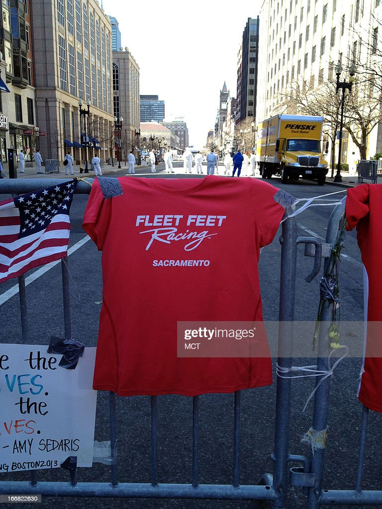 A t-shirt was left by a Sacramento, California woman to the victims of the Boston Marathan bombing, April 17, 2013.