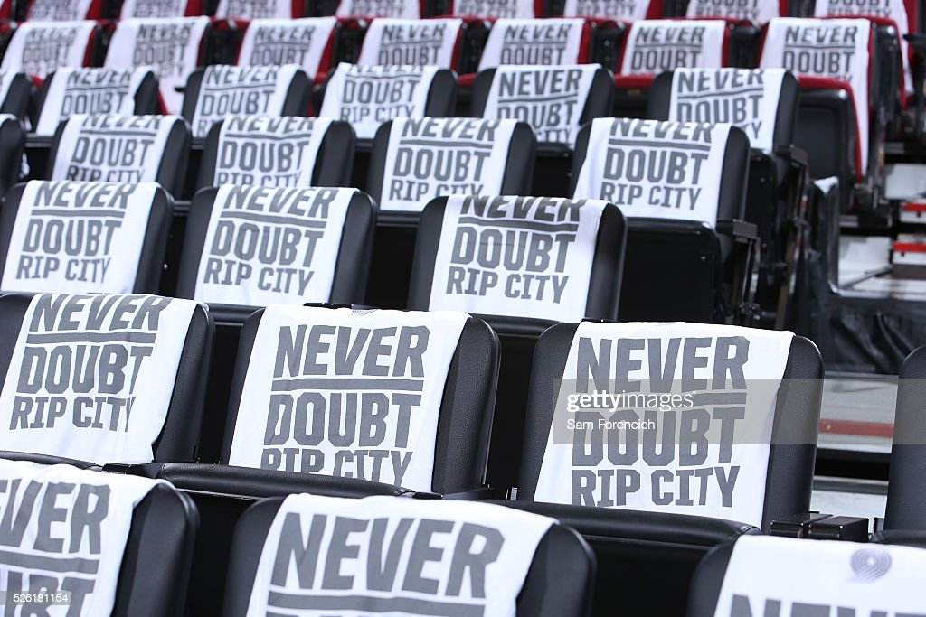 T-shirts are displayed before Game Six of the Western Conference Quarterfinals between the Portland Trail Blazers and the Los Angeles Clippers during the 2016 NBA Playoffs on April 29, 2016 at the Moda Center in Portland, Oregon.