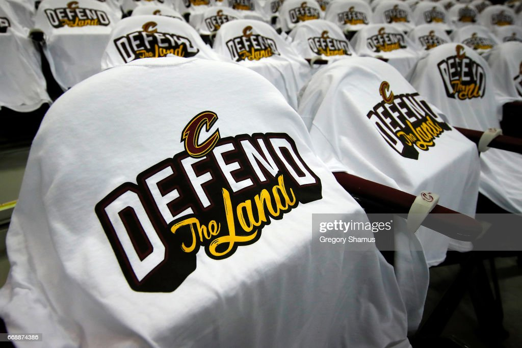T-shirts are placed on seats for fans prior to Game One of the Eastern Conference Quarterfinals between the Indiana Pacers and Cleveland Cavaliers during the 2017 NBA Playoffs at Quicken Loans Arena on April 15, 2017 in Cleveland, Ohio.