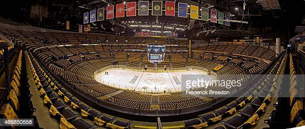 Tshirts are seen covering the seats inside the Bridgestone Arena prior to Game One of the Western Conference Quarterfinals between the Nashville...