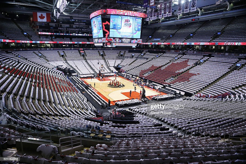 T-shirts cover the seats in the AirCanada Centre in a Maple Leaf pattern as the Toronto Raptors play the Miami Heat in game one of the NBA Conference Semifinals at the Air Canada Centre in Toronto. May 3, 2016.