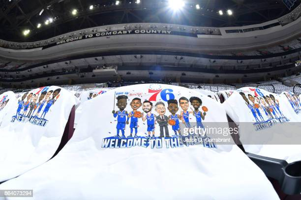 Tshirts for fans of the Philadelphia 76ers are seen before the game against the Boston Celtics on October 20 2017 at Wells Fargo Center in...