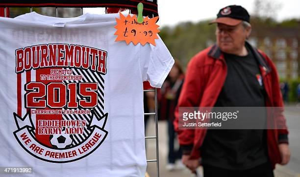 Shirts for sale as fans arrive ahead of the Sky Bet Championship match between Charlton Athletic and AFC Bournemouth at The Valley on May 2 2015 in...