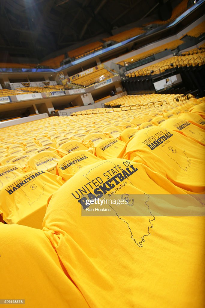 T-shirts for the fans are displayed before Game Six of the Eastern Conference Quarterfinals between the Indiana Pacers and the Toronto Raptors during the 2016 NBA Playoffs on April 29, 2016 at Bankers Life Fieldhouse in Indianapolis, Indiana.