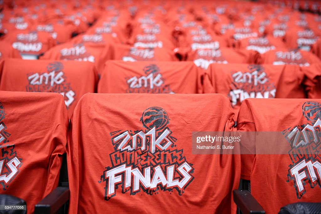 T-shirts for the fans are displayed before Game Six of the Eastern Conference Finals between the Toronto Raptors and the Cleveland Cavaliers during the 2016 NBA Playoffs on May 27, 2016 at the Air Canada Centre in Toronto, Ontario, Canada.