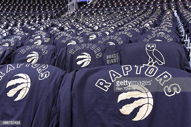 Tshirts for the fans are displayed before the game between the Toronto Raptors and the Cleveland Cavaliers on November 25 2015 at the Air Canada...