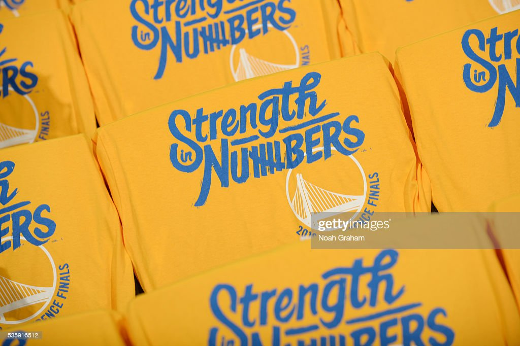 T-shirts for the fans are displayed before the game between the Golden State Warriors and the Oklahoma City Thunder in Game Seven of the Western Conference Finals during the 2016 NBA Playoffs on May 30, 2016 at ORACLE Arena in Oakland, California.