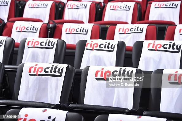 Tshirts for the fans are displayed before the game between the Portland Trail Blazers and the Golden State Warriors in Game Three of the Western...