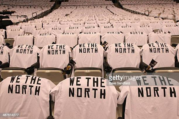 Tshirts hang on fans seats before Game Five of the Eastern Conference Quarterfinals between the Brooklyn Nets and the Toronto Raptors during the 2014...