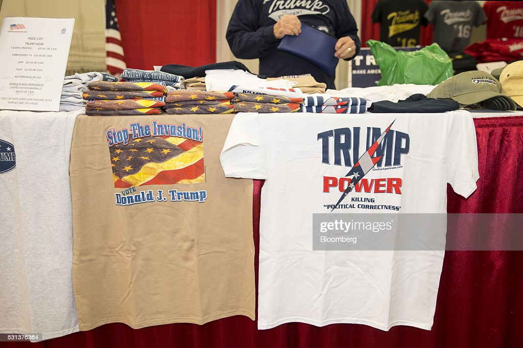 Tshirts in support of Donald Trump presumptive Republican presidential nominee are displayed for sale during the 2016 Texas Republican Convention in...