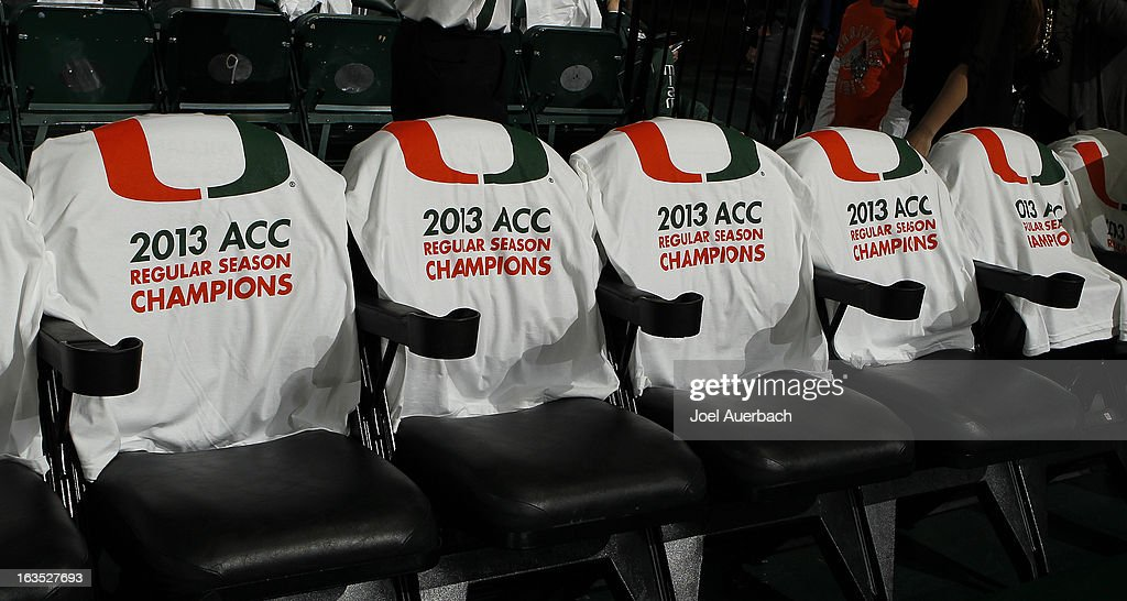 T-shirts proclaiming the Miami Hurricanes as '2013 ACC Regular Season Champions' were placed on all seats in the arena prior to the game against the Clemson Tigers on March 9, 2013 at the BankUnited Center in Coral Gables, Florida. The Hurricanes defeated the Tigers 62-49 and won the Atlantic Coast Conference Championship.