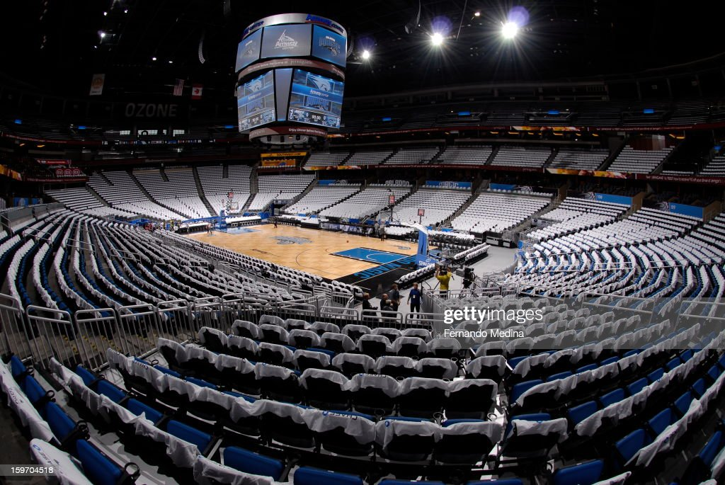 T-shirts sit ontop of chairs awaiting the fans arrival in a game between the Orlando Magic and the Charlotte Bobcats on January 18, 2013 at Amway Center in Orlando, Florida.