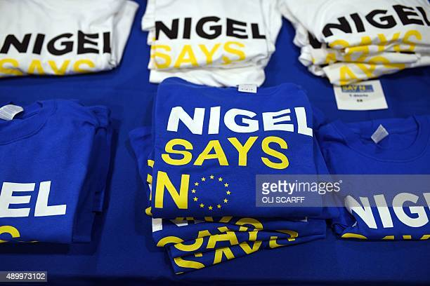 Tshirts with an antiEuropean Union message are displayed for sale at the UK Independence Party National Conference at Doncaster Racecourse in...