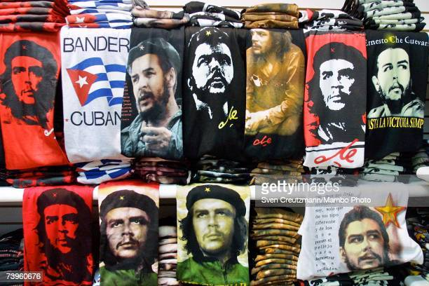 Shirts with the images of Ernesto Guevara de la Serna also known as Che Guevara are on display at Palacio de Artesania in Havana Cuba