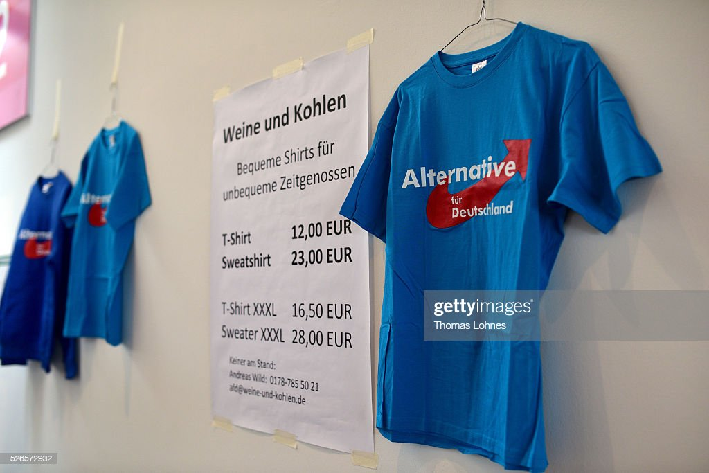 Tshirts with the logo of the 'Alternative fuer Deutschland' (AfD) party's pictured at the party federal congress on April 30, 2016 in Stuttgart, Germany. The AfD, a relative newcomer to the German political landscape, has emerged from Euro-sceptic conservatism towards a more right-wing leaning appeal based in large part on opposition to Germany's generous refugees and migrants policy. Since winning seats in March elections in three German state parliaments the party has sharpened its tone, calling for a ban on minarets and claiming that Islam does not belong in Germany.