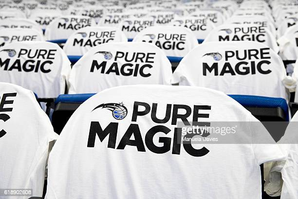 Tshirts with the Orlando Magic logo hang over spectator seats before opening night on October 26 2016 at Amway Center in Orlando Florida NOTE TO USER...