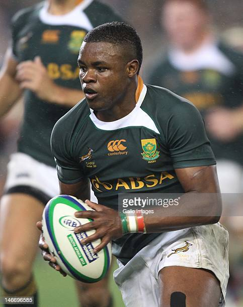 Tshotsho Mbovane from South Africa during the IRB Junior World Championships final match between South Africa and New Zealand at DHL Newlands on June...