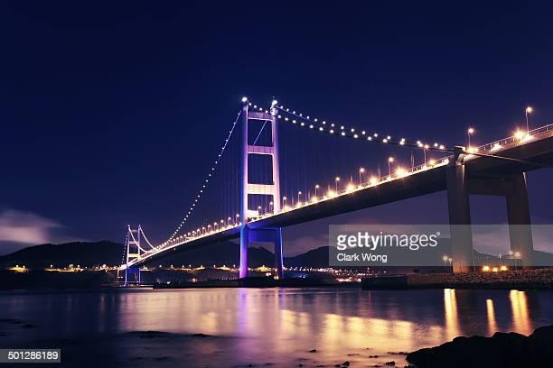 Tsing Ma Bridge at night in Hong Kong