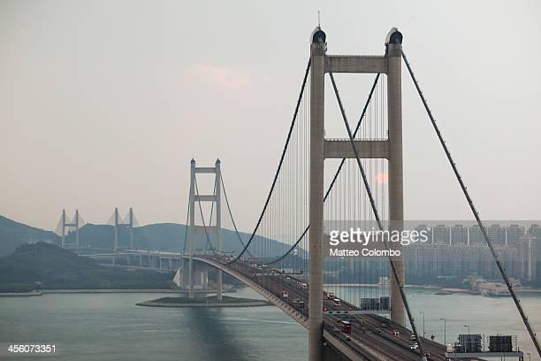 Tsing Ma suspended bridge at sunset, Hong Kong