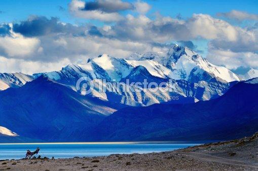 Tso Moriri lake after sunset : Stock Photo
