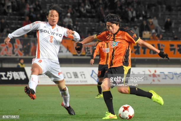 Tsugutoshi Oishi of Renofa Yamaguchi scores the opening goal during the JLeague J2 match between Renofa Yamaguchi and Ehime FC at Ishin Memorial...
