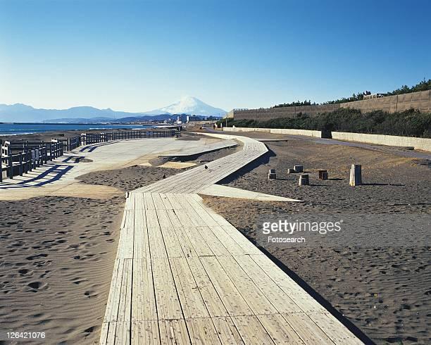 Tsujido Beach and Mt. Fuji, Shonan, Kanagawa Prefecture, Japan, Front View, Pan Focus