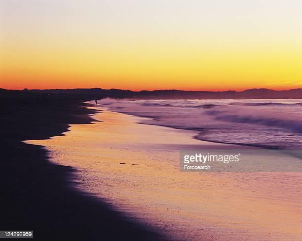 Tsujido Beach in the Morning, Shonan, Kanagawa Prefecture, Japan, Front View