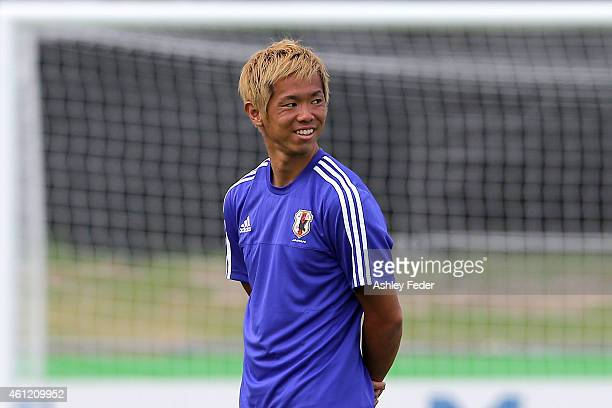 Tsukasa Shiotani of Japan warms up during a Japan 2015 Asian Cup training session on January 9 2015 in Newcastle Australia