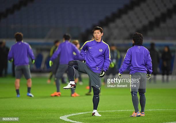 Tsukasa Shiotani of Sanfrecce Hiroshima warms up during a training session at International Stadium Yokohama on December 9 2015 in Yokohama Japan