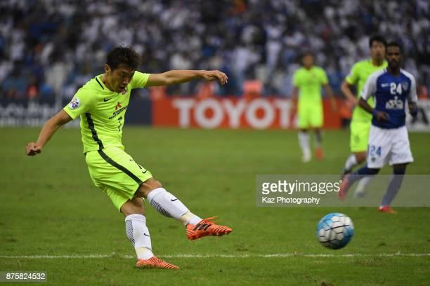 Tsukasa Umesaki of Urawa Red Diamonds shoots at goal during the AFC Champions League Final 2017 first leg between AlHilal and Urawa Red Diamonds at...