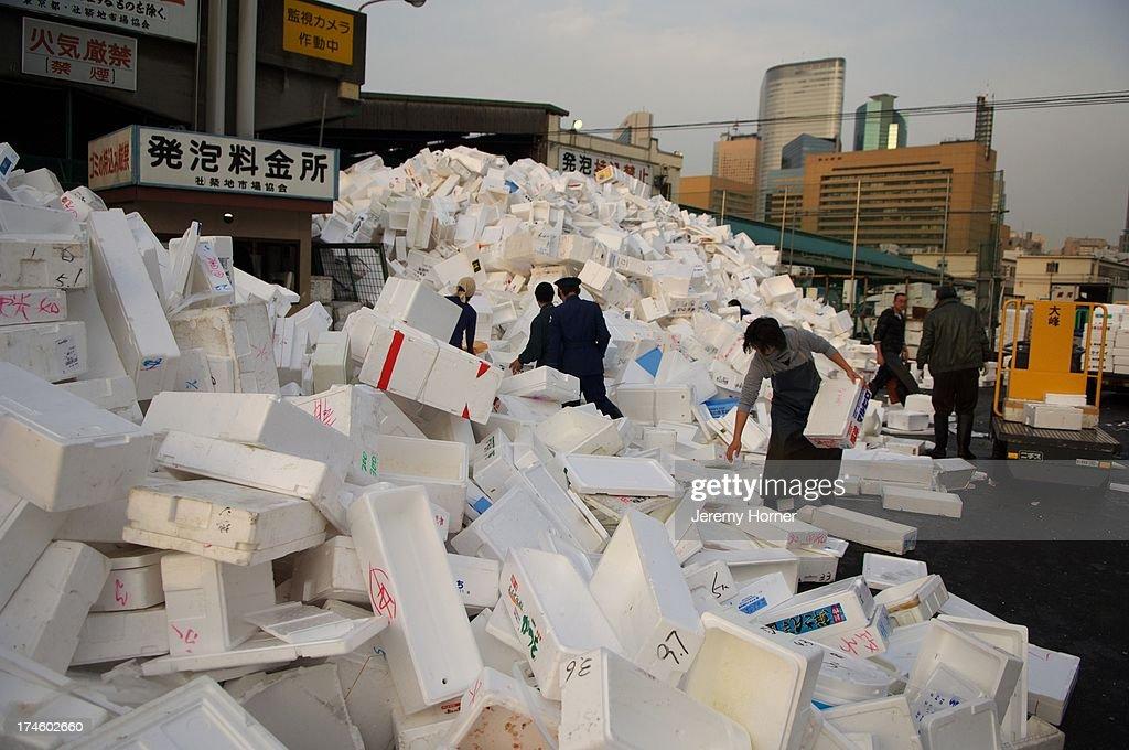 Tsukiji wholesale fish market, the world's largest..