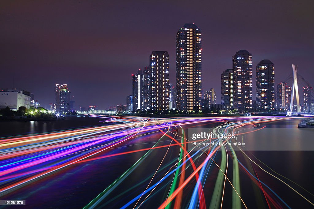 Tsukishima Skyscrapers nightview with light trails