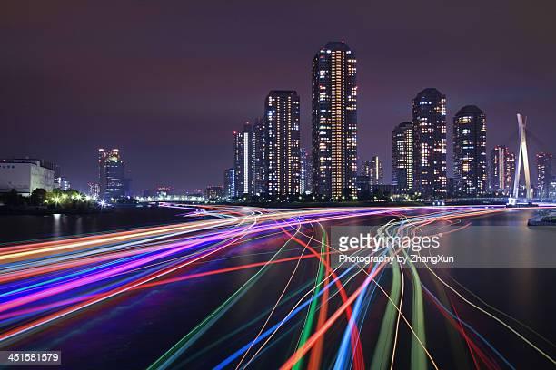 Tsukishima Skyscrapers nightview with light trails