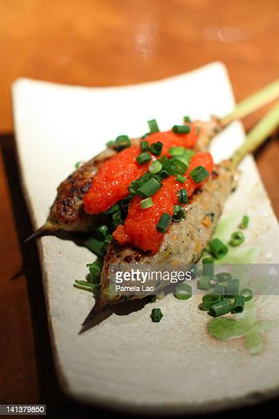 Tsukune with green onion and mentaiko