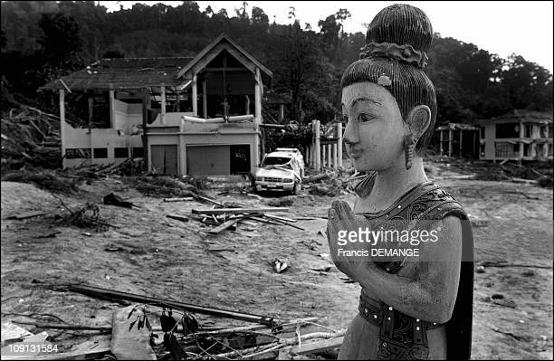 Tsunami Aftermath In The Phuket Region Thailand On January 1 2005 In Khao Lak Thailand A Vision Of Desolation And End Of The World On The Beaches Of...