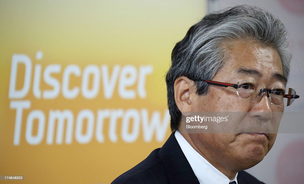 Tsunekazu Takeda, president of the Tokyo 2020 Bid Committee, attends a news conference during a media tour for Japan's bid for the 2020 Olympic and Paralympic Games in Tokyo, Japan, on Monday, July 29, 2013. Tokyo, the front-runner city to host the 2020 Olympics, is planning its biggest housing complex in 42 years to lodge athletes, a move that could benefit developers such as Shimizu Corp. and Mitsubishi Estate Co. Photographer: Tomohiro Ohsumi/Bloomberg via Getty Images
