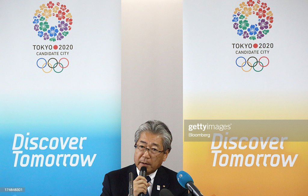 Tsunekazu Takeda, president of the Tokyo 2020 Bid Committee, speaks at a news conference during a media tour for Japan's bid for the 2020 Olympic and Paralympic Games in Tokyo, Japan, on Monday, July 29, 2013. Tokyo, the front-runner city to host the 2020 Olympics, is planning its biggest housing complex in 42 years to lodge athletes, a move that could benefit developers such as Shimizu Corp. and Mitsubishi Estate Co. Photographer: Tomohiro Ohsumi/Bloomberg via Getty Images