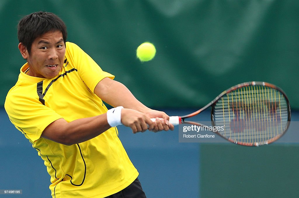 <a gi-track='captionPersonalityLinkClicked' href=/galleries/search?phrase=Tsung-Hua+Yang&family=editorial&specificpeople=4835216 ng-click='$event.stopPropagation()'>Tsung-Hua Yang</a> of Chinese Taipei plays a backhand duiring his match against Peter Luczak of Australia during day three of the Davis Cup Asia-Oceania Zone Group 1 tie between Australia and Chinese Taipei at Melbourne Park on March 7, 2010 in Melbourne, Australia.