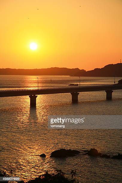 Tsunoshima Bridge at sunset