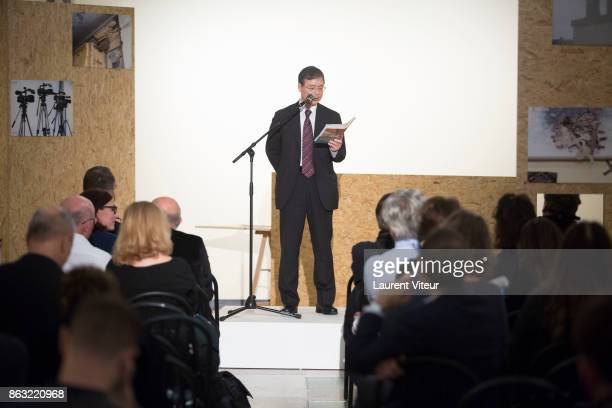 Tsutomu Sugiura reads 'Tombeau pour Cinq Cent Mille Soldats' for 50th anniversary of the book at Azzedine Alaia Gallery on October 19 2017 in Paris...