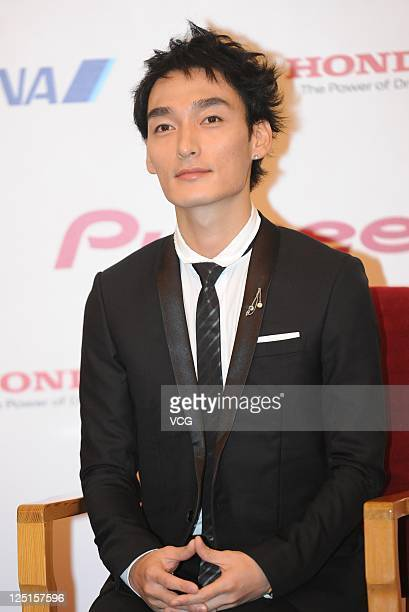 Tsuyoshi Kusanagi of Japanese boy band SMAP attends a press conference ahead of Beijing concert at the Great Hall of the People on September 15 2011...