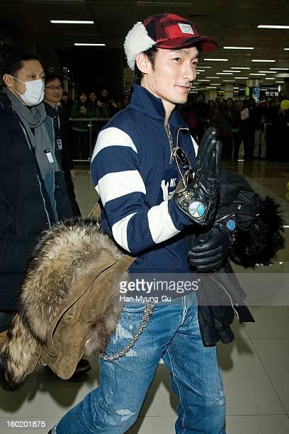 Tsuyoshi Kusanagi of Japanese boy band SMAP known as Chonan Gang is seen at Gimpo International Airport on January 27 2013 in Seoul South Korea