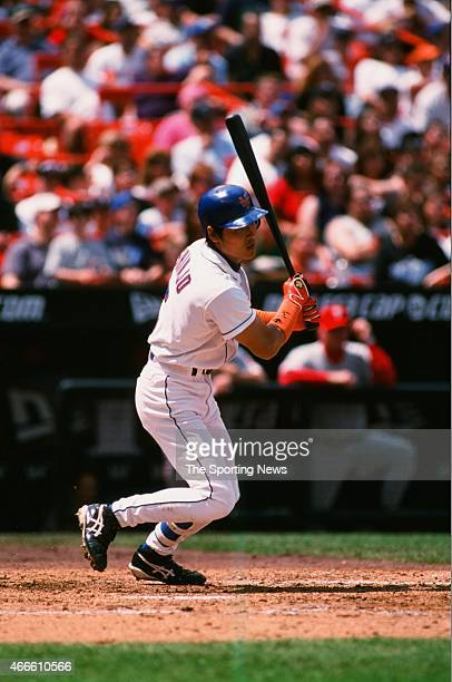 Tsuyoshi Shinjo of the New York Mets bats against the Philadelphia Phillies at Shea Stadium on May 28 2001 in the Flushing neighborhood of the Queens...