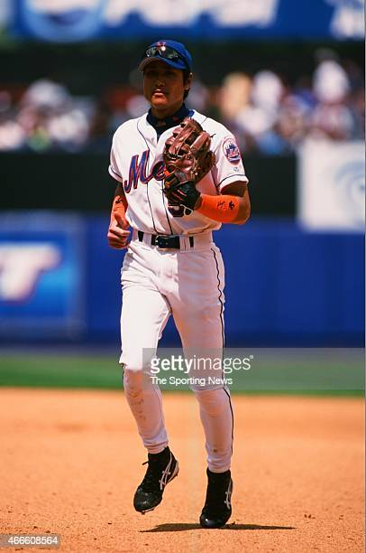 Tsuyoshi Shinjo of the New York Mets runs against the Philadelphia Phillies at Shea Stadium on May 28 2001 in the Flushing neighborhood of the Queens...