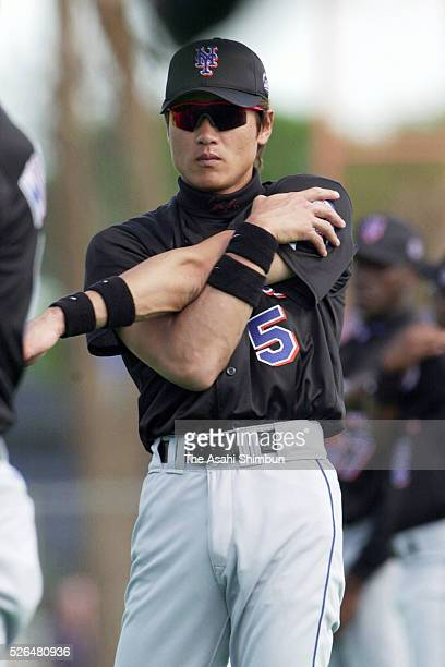 Tsuyoshi Shinjo of the New York Mets warms up during the spring workout on February 22 2001 in Port St Lucie Florida